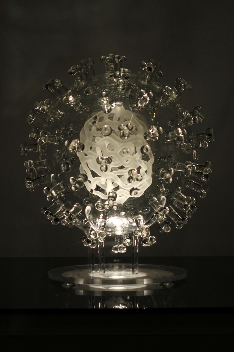 glass coronavirus sculpture by Luke Jerram
